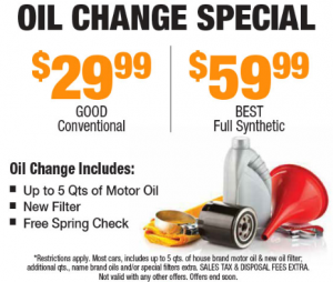 Oil Change Special from $29.99