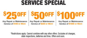 Service Special $25 - 100 OFF