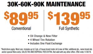 30k-60k-90k Maintenance Service from $89.95