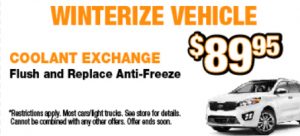 Winterize your vehicle $89.95